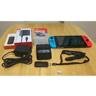 Nintendo Switch - ニンテンドースイッチ 本体 ネオンレッドブルー 変換アダプター 128GBメモリ