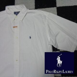 ラルフローレン(Ralph Lauren)の【ラルフローレン】特大半袖BDシャツ海外L(218)白オックスフォードポロ(シャツ)