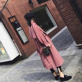 ザラ(ZARA)の新品未使用♡くすみピンク トレンチコート 春 秋 アウター XL(トレンチコート)