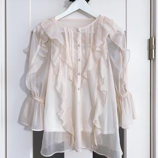 Rirandture - 【美品】リランドチュール 7分袖エアリーフリルブラウス ホワイト