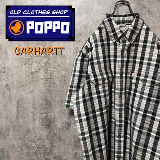 carhartt - カーハート☆ロゴタグ入りフラップ付きダブルポケット半袖ワークチェックシャツ