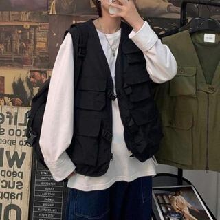 81☆ブラック フィッシングベスト XL マルチポケット 黒