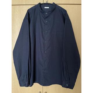 ジーユー(GU)のGUジーユー綿麻シャツスタンドカラーコットンリネンシャツXLネイビー紺色立襟無印(シャツ)