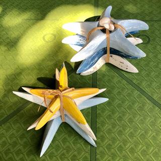 【ハワイ購入⭐︎SAND PEOPLE】かわいいヒトデの木彫りオーナメント✩①(置物)