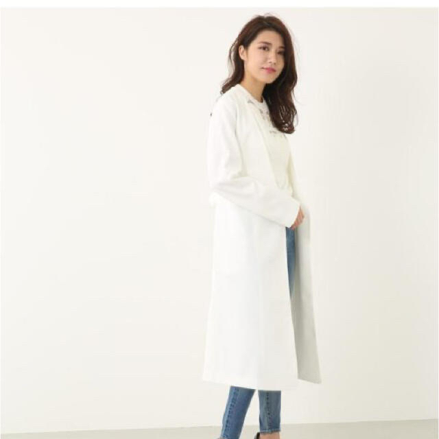 rienda(リエンダ)の新品未使用♡ノーカラーリボン♡ミディーコート レディースのジャケット/アウター(ノーカラージャケット)の商品写真