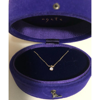 agete - 美品 agete アガット ネックレス 1粒ダイヤモンド