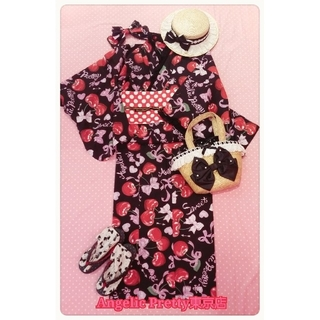 Angelic Pretty - Angelic Pretty Wrapping Cherry 浴衣Set黒