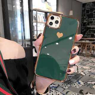 緑★かわいいハート メッキ風 鏡面 ミラーオシャレ  iPhoneケース ★(iPhoneケース)