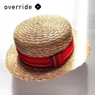 ネストローブ(nest Robe)の新品 オーバーライド✨override ストローハット 国産 麦わらカンカン帽(麦わら帽子/ストローハット)