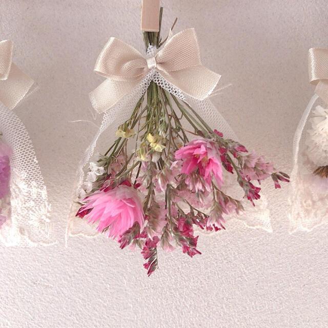 ピンク×パープル 大人可愛い レースリボンガーランド ドライフラワー 韓国雑貨 ハンドメイドのフラワー/ガーデン(ドライフラワー)の商品写真