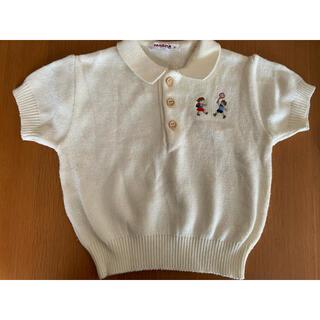familiar - FAMILIARファミリア ニットポロシャツ ボタン オフホワイト サイズ90
