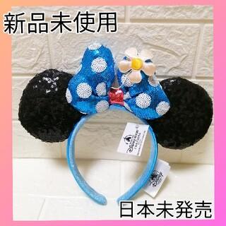 ディズニー(Disney)の新品 即購入OKディズニー水色リボン クラシック水玉&お花 ミニーカチューシャ(カチューシャ)