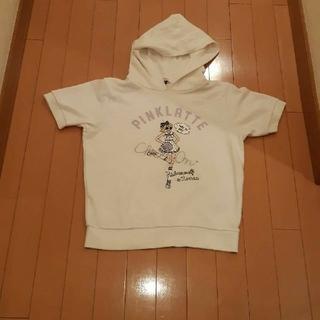ピンクラテ(PINK-latte)のピンクラテガールgirl転写プリントレトロ柄白半袖パーカーS 160サイズ(Tシャツ(半袖/袖なし))