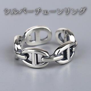 リング シルバー チェーン フリーサイズ  男女兼用 シルバーアクセ 指輪