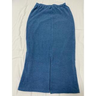 ジーユー(GU)のリブナローミディスカート  ブルー(その他)