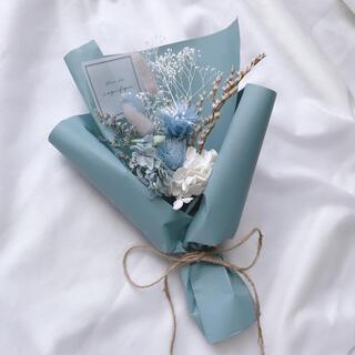 ブルー系 ドライフラワー ラッピングブーケ 花束 ブーケ ギフト(ドライフラワー)
