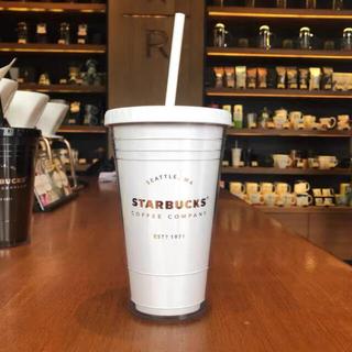 Starbucks Coffee - 新品未使用 ストロー付きタンブラー カップ ホワイト スターバックス