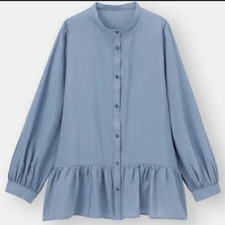 GU - ⭐️新品 GU ギャザーフレアロング シャツ Lサイズ ブルー