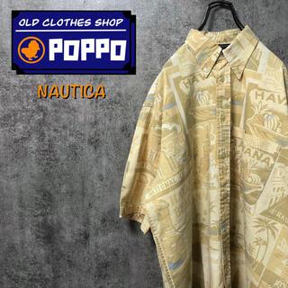 NAUTICA - ノーティカ☆ハバナ柄総柄半袖コットンリネンアロハシャツ 90s
