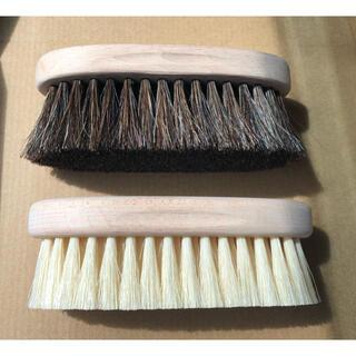 新品未使用 浅草 かなや刷子 かなやブラシ 白豚毛 馬毛 手植え 靴磨き