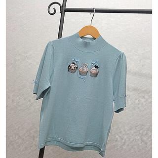 スーパービューティー♡カップケーキ刺繍がキュートな柔らかニット(ニット/セーター)