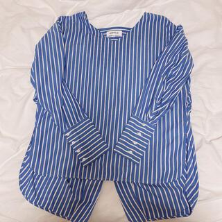 ENFOLD - 【早い者勝ち】ENFOLD ストライプシャツ ブルー オーバーサイズ