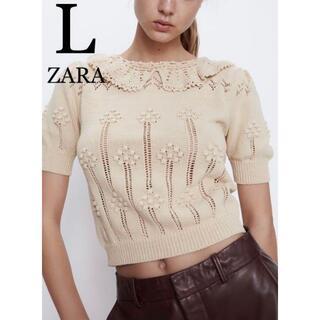 ZARA - 7 ZARA ザラ 新品 クロシェ編み襟付きセーター L