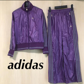 アディダス(adidas)のadidas アディダス レディース ウィンドブレーカー 上下 S ジャージ 紫(ウォーキング)