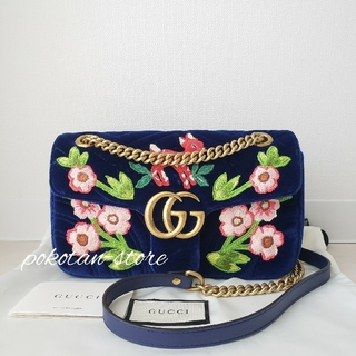 Gucci - 極美品【グッチ】GGマーモント ベルベット バンビ 刺繍 ショルダーバッグ