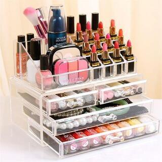 化粧品収納ボックス 透明アクリル メイクケース コスメ 口紅 収納スタンド