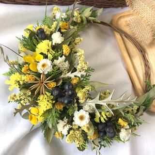 黄色い小花のリース♡ドライフラワーリース(ドライフラワー)