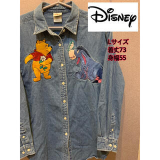 ディズニー(Disney)の90S Disney キャラクター 刺繍 デニム BDシャツ ビッグサイズ(シャツ)