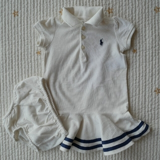 Ralph Lauren - ラルフローレン 12M/80cm 半袖 ワンピース 白×紺