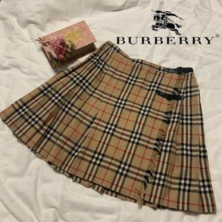 BURBERRY BLUE LABEL - Burberry ノバチェック 巻きスカート チェックスカート 牛革ベルト