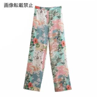 ZARA - 🍀5月新作🎏4244◆エスニック レトロ プリント 花柄 パンツ