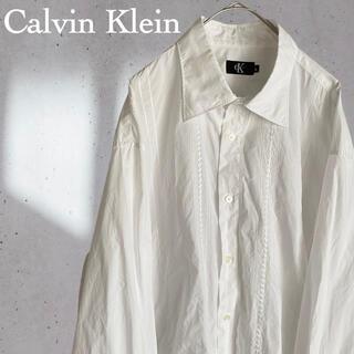 シーケーカルバンクライン(ck Calvin Klein)のカルバンクライン 長袖 刺繍 ステッチ シャツ 白 ホワイト おしゃれ 2XL(シャツ)