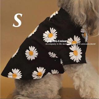 S【新品】可愛い♡フラワーデイジーTシャツ 犬 服 春 夏 花柄 黒 ブラック