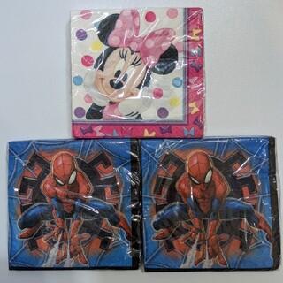 ディズニー(Disney)の紙ナプキン ミニー、スパイダーマン 3個セット(テーブル用品)