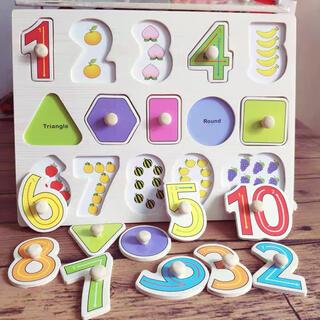 モンテッソーリ知育玩具 型はめパズル 木製 パズル 数字