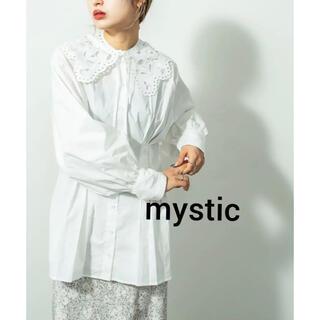mystic - 新品 mystic 付け衿付きタックブラウス☆ホワイト ラスト1点