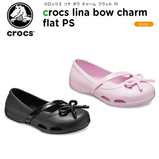 クロックス(crocs)のクロックス キッズ C6 新品 フラット シューズ リナ ボウ チャーム ピンク(サンダル)
