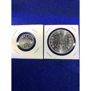 東京オリンピック1000円銀貨 100円銀貨 計2枚(金属工芸)