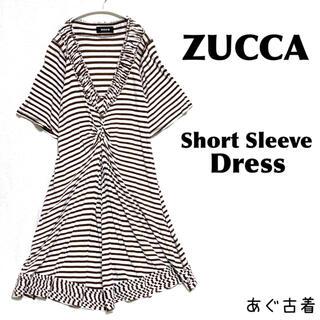 ZUCCa - ZUCCA★ゆるシルエット ボーダー柄 半袖ワンピース モード&カジュアル