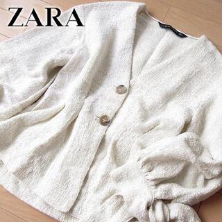 ザラ(ZARA)の超美品 (EUR)XS ザラ ZARA WOMAN ツイードペプラムジャケット (ノーカラージャケット)