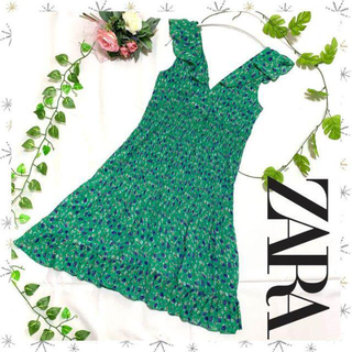 ザラ(ZARA)の新品・未使用 ZARA ザラ ノースリーブ 花柄フレアワンピース(ミニワンピース)