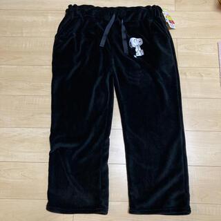 シマムラ(しまむら)の新品 しまむら スヌーピー フリース パンツ 黒 4L(ルームウェア)