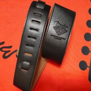 フェンダー fender ギター ストラップ レザー 黒 ブラック(ストラップ)