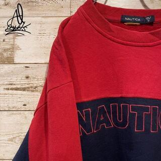 ノーティカ(NAUTICA)の《刺繍ロゴ》Nautica ノーティカ スウェット L♫デカロゴ ネイビー 紺色(スウェット)