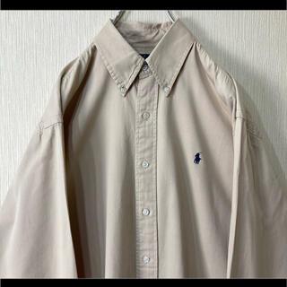 Ralph Lauren - ラルフローレン BDシャツ 長袖 ベージュ 紺ポニー オーバーサイズ 90s