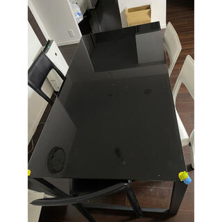 フランフラン(Francfranc)のフランフラン ガラスダイニングテーブル 4脚 椅子セット(ダイニングテーブル)